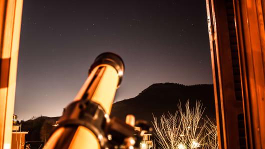 Star gazing, telescope, stars