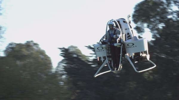 This is the first flying golf cart jetpack