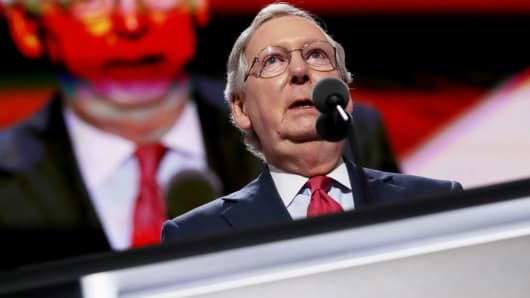 Senate Majority Leader Mitch McConnell (R-KY) speaks after roll call on the second day of the Republican National Convention on July 19, 2016 at the Quicken Loans Arena in Cleveland, Ohio.