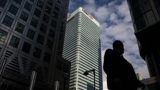 The HSBC Holdings Plc headquarters sits in the Canary Wharf business, financial and shopping district of London.