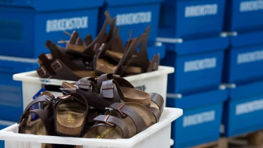 Birkenstock shoes are seen after they were produced at the Alsa GmbH company in Goerlitz, eastern Germany,on May 10, 2016.