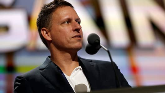 Peter Thiel, co-founder of PayPal Inc., stands on stage during the Republican National Convention (RNC) in Cleveland, Ohio, U.S., on Tuesday, July 19, 2016.