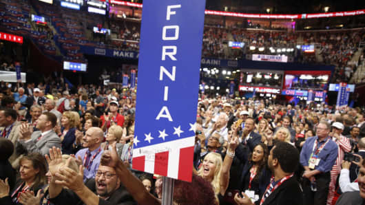 California delegates cheer as they take part in the roll call in support of presumptive Republican presidential candidate Donald Trump on the second day of the Republican National Convention on July 19, 2016 at the Quicken Loans Arena in Cleveland, Ohio.