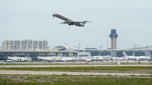 A plane takes off from the Dallas-Fort Worth International Airport in Irving, Texas.