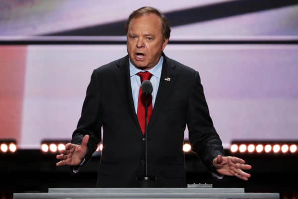 Harold Hamm, CEO of Continental Resources Shale Oil Company, delivers a speech on the third day of the Republican National Convention on July 20, 2016 at the Quicken Loans Arena in Cleveland, Ohio.