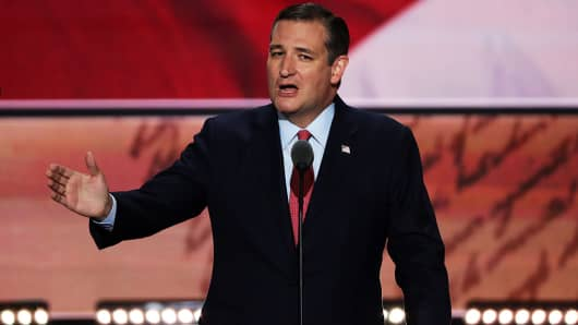 Sen. Ted Cruz (R-TX) delivers a speech on the third day of the Republican National Convention on July 20, 2016 at the Quicken Loans Arena in Cleveland, Ohio.