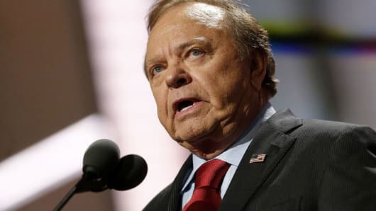 Harold Hamm, chief executive officer of Continental Resources Inc., speaks during the Republican National Convention (RNC) in Cleveland, Ohio, U.S., on Wednesday, July 20, 2016.