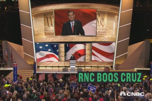 Crowd boos Cruz at RNC