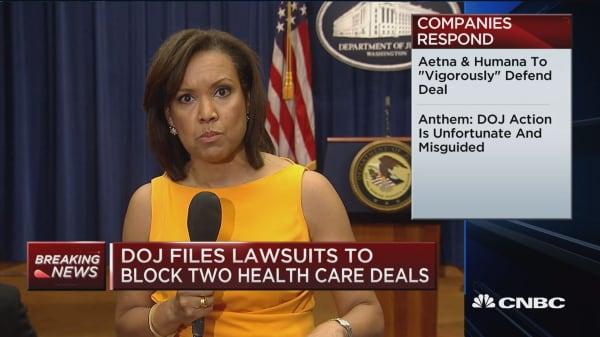 DOJ opposes 2 health insurance mergers