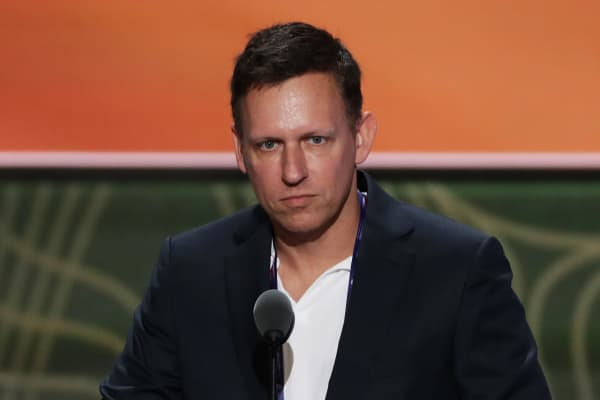 Peter Thiel, co-founder of PayPal, stands on stage prior to the start of the second day of the Republican National Convention on July 19, 2016 at the Quicken Loans Arena in Cleveland, Ohio.