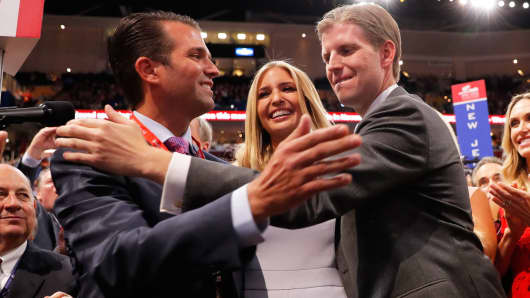 From left to right, Donald Trump Jr., Ivanka Trump, and Eric Trump at the Republican National Convention, July 19, 2016.