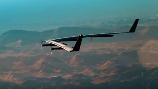 Facebook's internet-beaming solar powered aircraft takes flight over Yuma, Arizona.