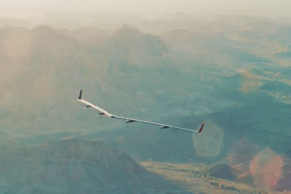 Facebook's internet-beaming, solar-powered airplane in flight