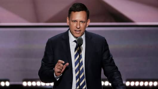 Peter Thiel, co-founder of PayPal, delivers a speech during the evening session on the fourth day of the Republican National Convention on July 21, 2016 at the Quicken Loans Arena in Cleveland, Ohio.