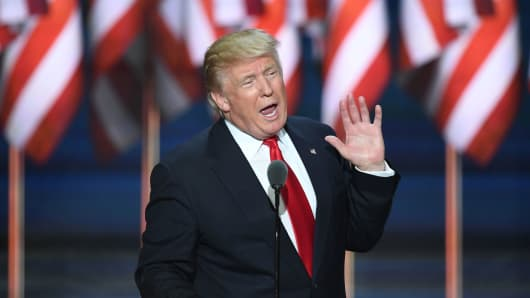 Republican presidential candidate Donald Trump speaks on the last day of the Republican National Convention on July 21, 2016, in Cleveland, Ohio.