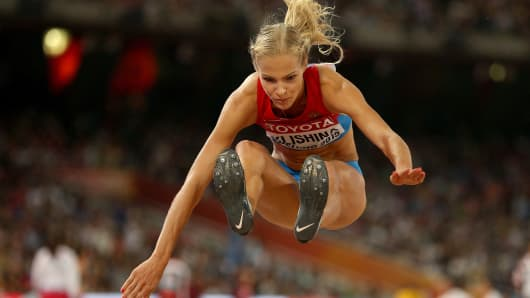 Darya Klishina of Russia competes in the Women's Long Jump final during day seven of the 15th IAAF World Athletics Championships Beijing 2015 on August 28, 2015.