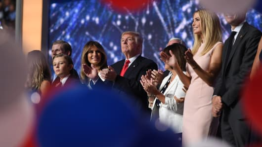 he family of Republican Presidential candidate Donald Trump celebrate, after his nomination speech to the Republican National Convention on Thursday, July 21, 2016.