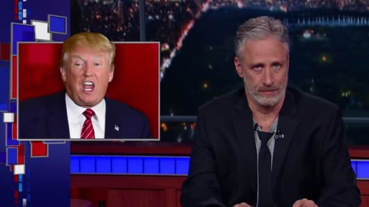 John Stewart stopped by Late Night with Stephen Colbert to talk politics.