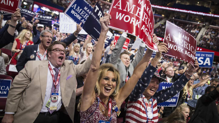 Kim Davis and the California delegation celebrate Donald Trump's nomination at the Republican National Convention at Quicken Loans Arena in Cleveland, Ohio, on July 19, 2016.