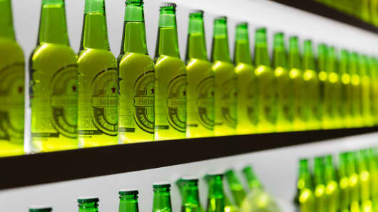 Heineken Light bottles.