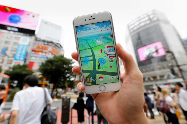 Pokemon Go app on an iPhone, Tokyo, Japan, July 22, 2016.