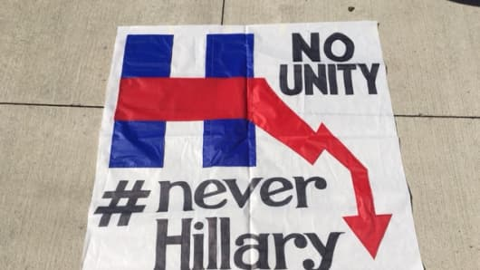 Pro-Bernie Sanders protesters in Philadelphia were furious at Hillary Clinton, as well as the Democratic establishment.