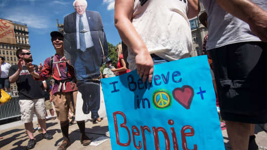 Supporters of Democratic presidential candidate Bernie Sanders in Philadelphia on July 24, 2016.