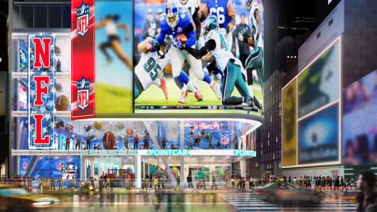 A rendering of the NFL-themed store coming to Times Square.