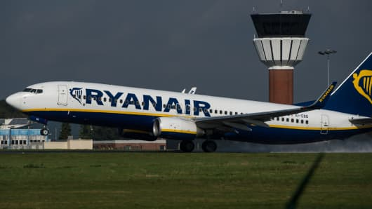 An 737 Boeing plane of the Ryanair company takes off at the Lille-Lesquin airport, northern France.