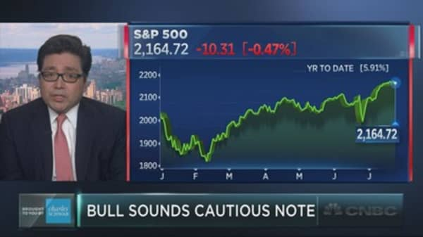 Bullish Tom Lee says stocks may suffer August slide