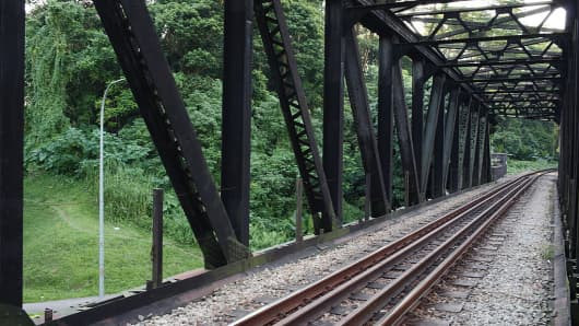 A preserved part of the Malaysia's Keretapi Tanah Melayu Berhad (KTMB) rail track in Upper Bukit Timah Road, Singapore. KTMB used to operate a route from Malaysia to Singapore but ceased service in 2011.