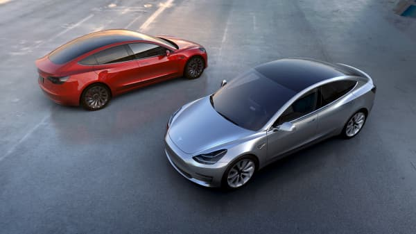 Tesla Motors' Model 3 electric cars.