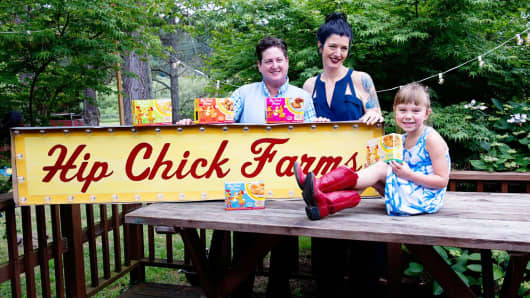 Hip Chick Farms Co-Founders Jennifer Johnson (left), Serafina Palandech (center) and their daughter, Rubyrose.