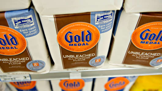 General Mills' Gold Medal flour on display at a supermarket in Princeton, Illinois.