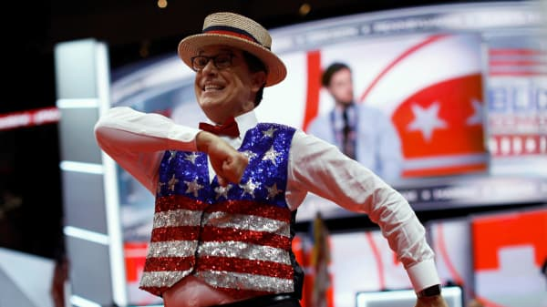 CBS television host Stephen Colbert records a skit on the floor of the Republican National Convention in Cleveland, Ohio, July 17, 2016.