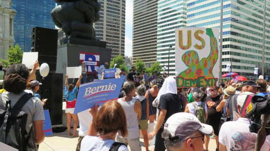 Supporters of Bernie Sanders gather in Philadelphia on July 26, 2016.