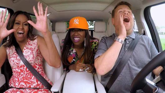 "The First Lady Michelle Obama and Missy Elliott join James Corden for Carpool Karaoke on ""The Late Late Show with James Corden,"" Wednesday, July 20th 2016("