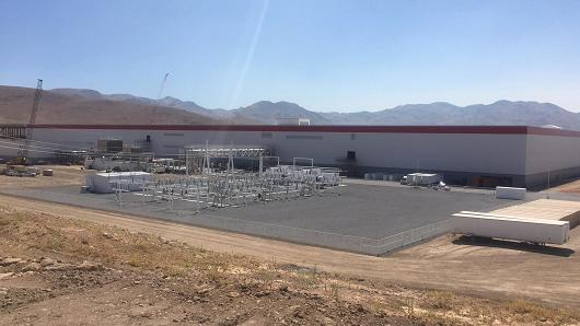 The Tesla Gigafactory in Nevada on July 26th, 2016.