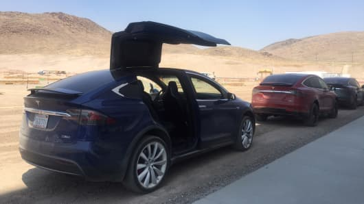Tesla Model X cars at the Gigafactory in Nevada.