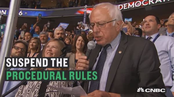 Bernie Sanders nominates Hillary Clinton by acclamation