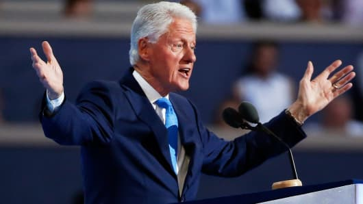 Former President Bill Clinton addresses the Democratic National Convention in Philadelphia, July 26, 2016.
