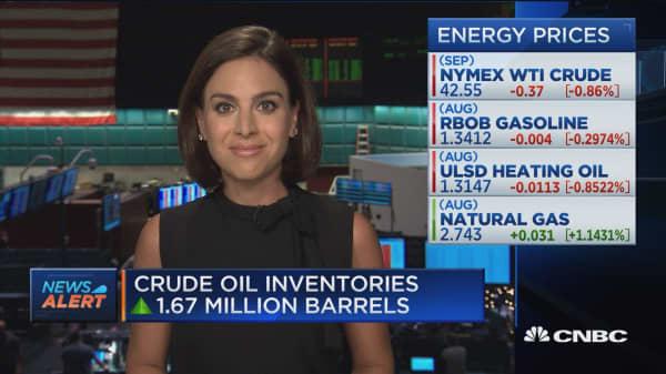 Crude oil inventories up 1.67 million barrels