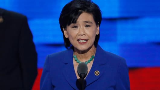 Congressional Asian Pacific American Caucus Chair, U.S. Representative Judy Chu (D-CA), speaks on the third day of the Democratic National Convention in Philadelphia, July 27, 2016.