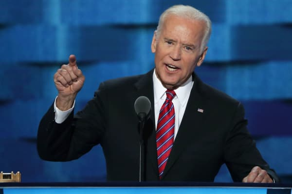 Vice President Joe Biden delivers remarks on the third day of the Democratic National Convention at the Wells Fargo Center, July 27, 2016 in Philadelphia, Pennsylvania.