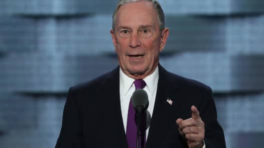 Former New York City Mayor Michael Bloomberg delivers remarks on the third day of the Democratic National Convention at the Wells Fargo Center, July 27, 2016 in Philadelphia, Pennsylvania.