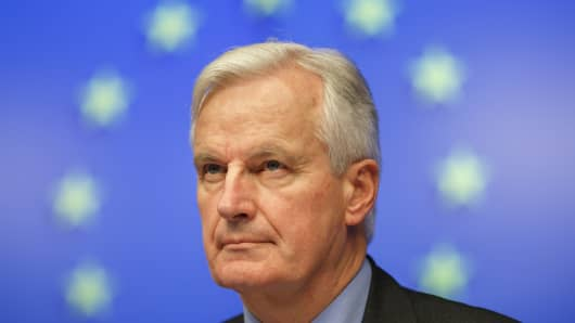 Michel Barnier during a news conference after a meeting of EU finance ministers at the European Council headquarters in Brussels, Belgium.