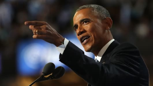 U.S. President Barack Obama delivers remarks on the third day of the Democratic National Convention at the Wells Fargo Center, July 27, 2016.