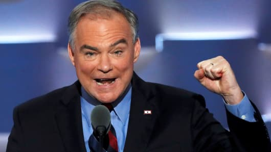 Democratic vice presidential nominee Senator Tim Kaine speaks on the third night at the Democratic National Convention in Philadelphia, July 27, 2016