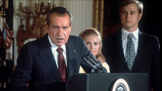 Richard Nixon announces his resignation from the White House, August 9, 1974.