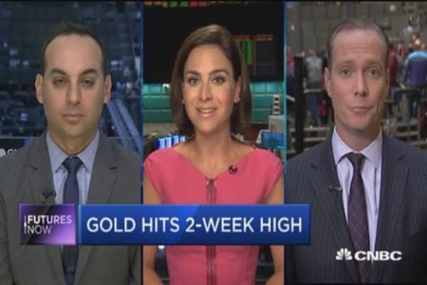 Gold hits 2-week high